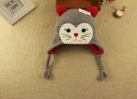 2015 New Kids Winter Cap Gray Cat Cap Original order Carton Cap 4 size 46cm,48cm,50cm,52cm