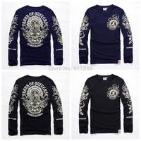 Famous Brand Men Casual Cotton Long T-shirts Stylish Avalokitesvara Floral Rock Printing Tees Asian Size M-4XL FS3223