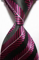 New Striped Pink Black JACQUARD WOVEN Men's Tie Necktie    401