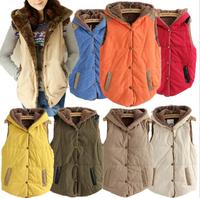 New 2014 autumn winter female plus size oversize slim plus velvet mex vest thermal down cotton Gilet jacket women hooded vest