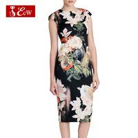 ECW 2015 New Arrivals Women's Flower Party Dress Women Print Dress Spring Vintage Slim Sleeveless Bandage