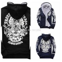 2014 New Brand Men Thick Warm Hoodies Stylish Avalokitesvara Printing Men Rock Hoodies Coat Asian Size M-3XL FS3226