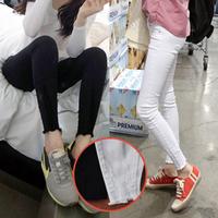 Girls white jeans foot hole design / nine points jeans / pants pencil pants feet female M24