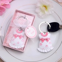 New Arrival 100 PCS/LOT Pink Skirt Key Chains Baby shower favors Free Shipping