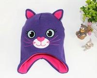 2015 New Kids Winter Cap Purple Big Eye Cat Cap Original order Carton Cap 3 size 46cm,48cm,50cm
