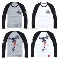 2014 New Fashion Men Casual T-shirt Cute Monkey Printing Cotton Tees Long-sleeves T-shirts White/Gray Asian Size M-XXL FS3211