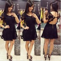 2015 New Fashion Sexy Women Short Sleeve Lace Dress Lady Hollow Back Mini dress Evening Party Dress S-XL Free Shipping