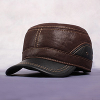Male genuine leather casual peaked cap cadet autumn and winter hat ear quinquagenarian cowhide 2014 thermal thickening