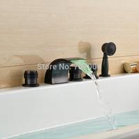 Deck Mounted Bathroom Bath Tub Mixer Taps Waterfall Spout Three Handles LED 3 Colors Bathtub Faucet