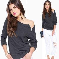 2014 Winter Solid Zipper asymmetrical Pullover Long Sleeve Sweatshirt For Women's Gray Black  Fleece Plus Size Knitwear nz202