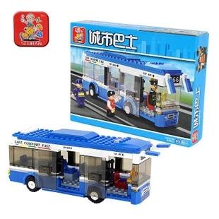 Plástico blocos de construção define 235 pcs Sluban City bus minifigures DIY brinquedos compatíveis com lego(China (Mainland))