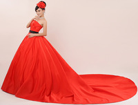 Free Shipping New 2015 Fashionable Red Sex Tube Top Long Train Wedding Dress Bridal Gown vestido de noiva