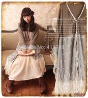 Mori Girl Lolita Retro Vintage Lace Cardigan Blouse Embroidery Casual Long Design Tops Women Brandy Melville Shirt Large Blazer