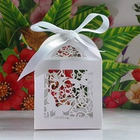 Laser Cut Butterfly and Flower wedding party favor box in pearlescent candy box,party show gifts ribbon was cuted