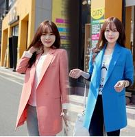 2015 Autumn Leisure loose new women's Long sleeve slim long style Blazers suit coat 2 colors