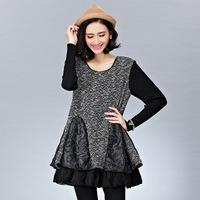 2014 New Autumn and Winter Plus Size Ladies Korean Woolen Spell long Sleeve Mesh Lace Evening Dress luxury vestido fiesta
