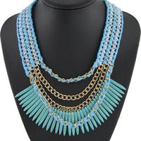 New Fashion Charm Handmade Knit Bib Collar Ivory Tassel Necklace & Pendant Jewelry Statement necklace For Women Christmas NK844