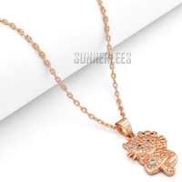 Free Shipping Fashion Jewelry Women Girls Dancing Hello Kitty Cat w CZ 18K Rose Gold Filled Pendant Necklace Optional Chain P40R
