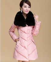 2015 Direct Selling Special Offer Winter Jacket Women Winter Rex Rabbit Hair Large Lapel Slim Waist Coat Medium-long Down Female