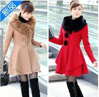 fourrure 2014 new rabbit fur collar big skirt woolen coat and long sections cashmere woolen coat female