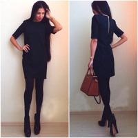 S-XXL Autumn and Winter Pencil Dress Work Wear Dresses for Women Fashion Women Back Zipper Casual Dress