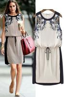 Women's Casual Dress 2014 Fashion O-neck Sleeveless Summer Dress Knee-Length Elegant OL Dresses Plus Size S M L XL XXL