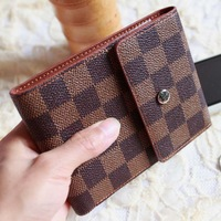 A generation of fat new wave of male Korean fashion personality package cover type triple short paragraph plaid wallet Wallets