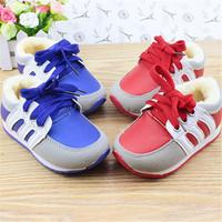 Free shipping blue red lace up shoes children,warm fur children shoes girls,fashion zapatos nina