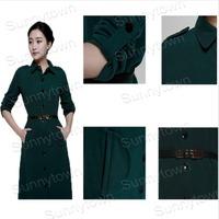 New Fashion 2014 Autumn Winter Single-Breasted turn_down collar slim long sleeve women dress