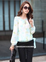Details about Women Puff Floral Print Chiffon Blouses Casual Long Sleeve Tops Shirt New