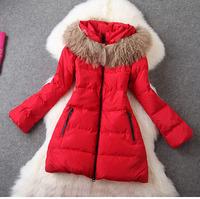 2014 Winter Europe Style White Duck Down Coat Women's Fashion Fur Collar Long Sleeve Thick Warm Down Parkas Long Jacket Outwear