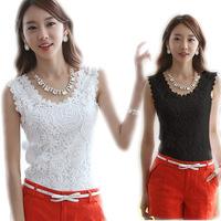 2014 Blusa Renda Feminina Summer Lace Shirt Black/White Tops Casual Sleeveless Plus Size Womens Blouses S-XXL