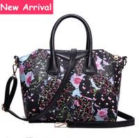 Classical Designer Rose Printing Women Handbag High Quality PU Leather Tote 2015 New Fashion Messengers Vintage Bolsas Femininas