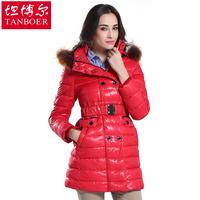 Down coat female slim medium-long down coat fur collar large bride down outerwear