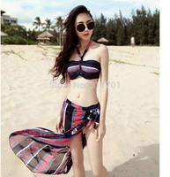 2014 New women Bikinis Set 3pcs sexy Bikinis bathing suit come smock sexy bikini Beach Free shipping