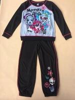 Free Shipping Monster High kids girl autumn winter long sleeve t shirt top + pant pajamas clothing set  pjs