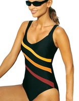 Brand New Striped Print Slimming One Piece Swimsuit Swimwear Black EU 36 38 40 42 44 46 48 50 52 54