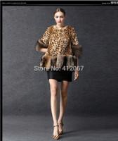 Leopard Long Patchwork Beaver Fur Skin Women Coat Three Quarter with Big Faux Raccoon Ladies overcoat Jackets /is Customized