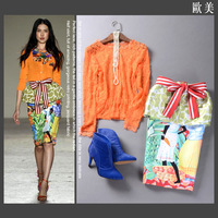 2015 spring summer fashion women brand designed Skirt Suits knee length print bow suits runway lace shirts blouses orange