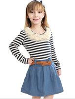 2014 spring girls dress Institute of stripe style denim dress lace decoration belt lady 2 color princess dress