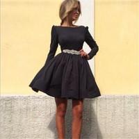 FREE SHIPPING New Fashion 2014 Novelty Women's Fashion black A-line elegant dress O-neck full sleeve casual dress 20531