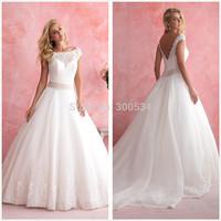 2015 New Designer Princess Wedding Dresses Scoop Neck Cap Sleeve Open Back Bridal Gowns