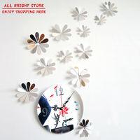 Flower Art Mordern Luxury Design DIY Removable 3D Crystal Mirror Wall Clock Wall Sticker Living Room Bedroom Decor Decoration