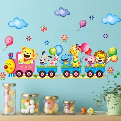 Grátis frete trem Animal leão hipopótamo coelho porco borboleta balão adesivos de parede para quartos dos miúdos dos desenhos animados etiqueta Home decoração(China (Mainland))
