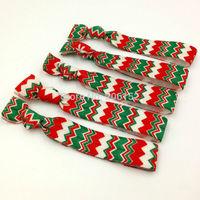 Christmas Hair Elastic Band Green White Red Chevron Hair Band FOE Ribbon Hair Tie Wholesale