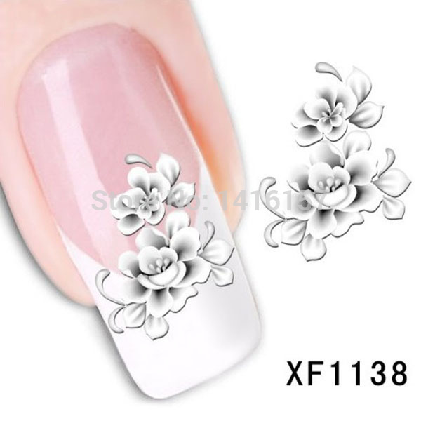 Min.order is $10 (mix order)Water Transfer Nail Art Stickers Decal Elegant Light Blue Peony Flowers Design French Manicure Tools(China (Mainland))