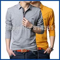 Men's Long Sleeve Turn-Down Collar T-shirt 2014 Spring Autumn Man Brand Sport TShirt Tops Tee Plus Size M-5XL Free Shipping