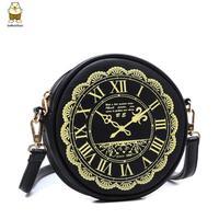 2014 new clock style women handbags single diagonal cross body shoulder bag girls Korean  fashion messenger PU leather bags
