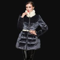 Fashion 2014 slim waist princess rex rabbit hair down coat velvet coat medium-long down jacket, ladies winter long parka