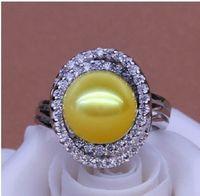 elegant natural south sea 10mm south sea gold pearl crystal ring